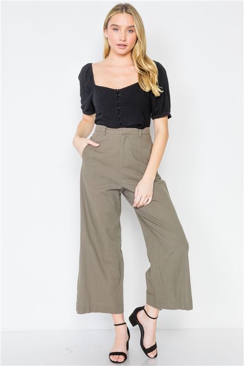 Khaki Olive High-Waist Wide Leg Pants