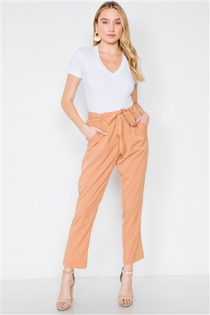 Camel High-Waist Font-Tie Pants
