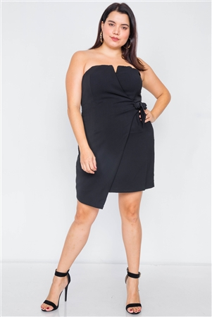 Plus Size Black Sleeveless Mock Wrap Mini Chic Dress