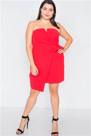 Plus Size Red Sleeveless Mock Wrap Mini Chic Dress