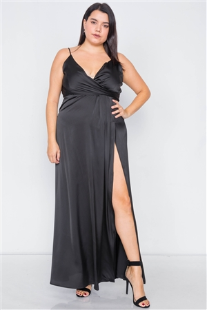 Plus Size Silk Black Pleated Slit Classic Maxi Dress