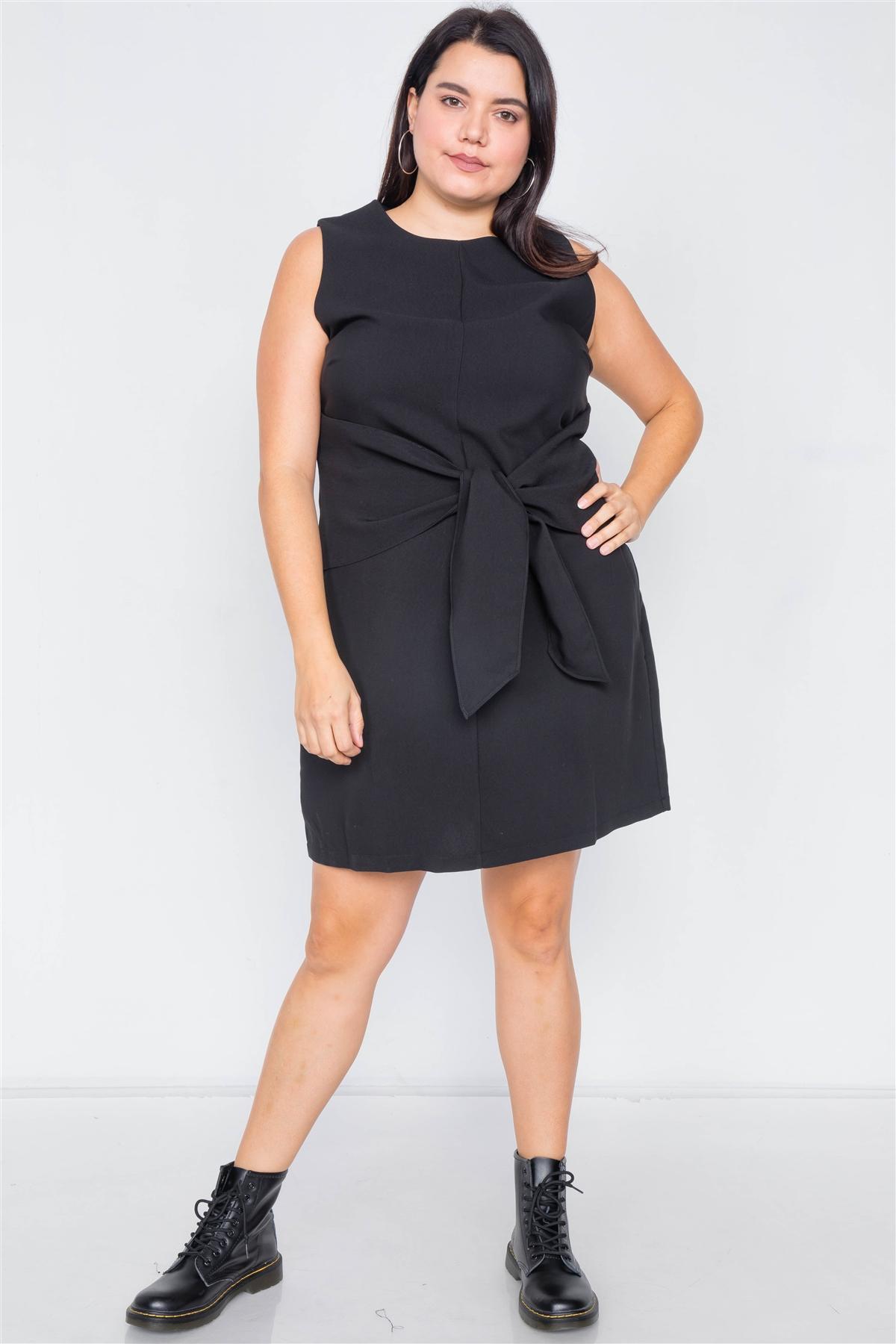 Plus Size Black Round Neck Tank Top Mini Wrap Dress