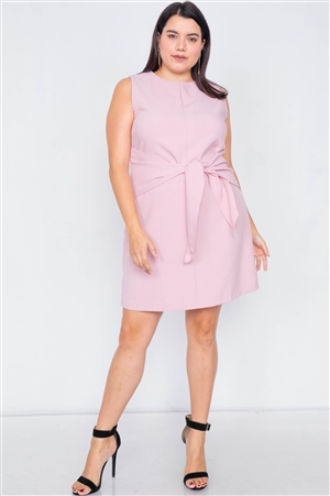 Plus Size Light Pink Round Neck Tank Top Mini Wrap Dress