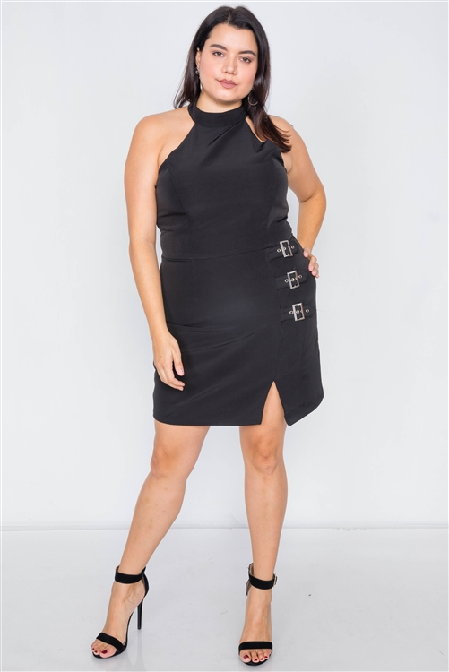 Plus Size Black Halter Buckle Hip Mini Dress