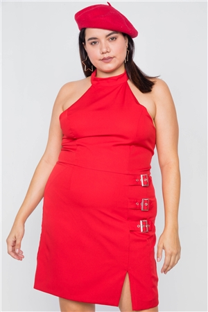 Plus Size Red Halter Buckle Hip Mini Dress