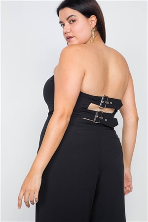 Plus Size Black Buckle Cut-Out Sleeveless Wide Leg Jumpsuit
