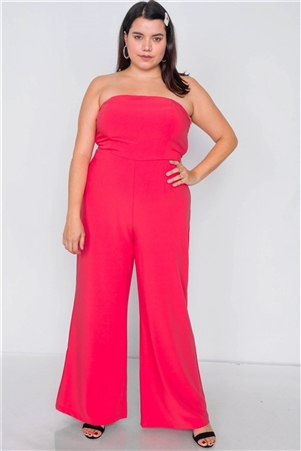 Plus Size Magenta Buckle Cut-Out Sleeveless Wide Leg Jumpsuit