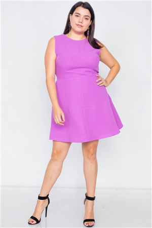 Plus Size Orchid Fit & Flare Sleeveless Midi Dress