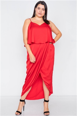Plus Size Tomato Red Satin Flounce Bandage Midi Dress