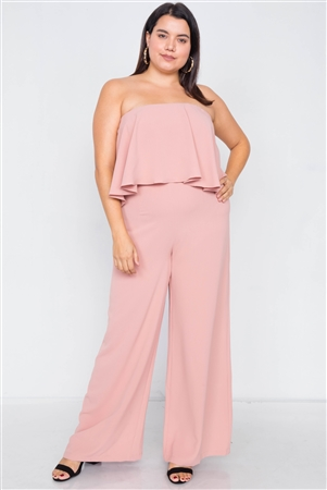 Plus Size Blush Off-The-Shoulder Flounce Wide Leg Jumpsuit
