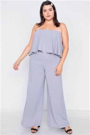 Plus Size Dove Off-The-Shoulder Flounce Wide Leg Jumpsuit