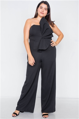 Plus Size Black Tailored Frill Wide Leg Sleeveless Cocktail Jumpsuit