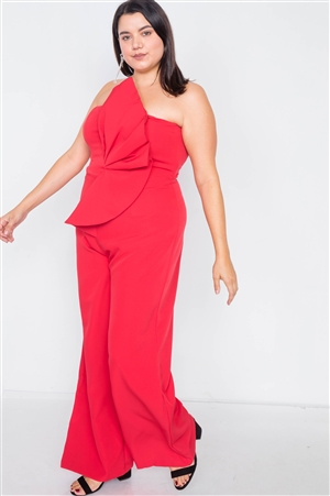 Plus Size Red Tailored Frill Wide Leg Sleeveless Cocktail Jumpsuit