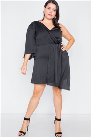 Plus Size Black Silk One Shoulder Mini Dress