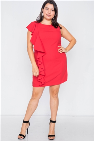 Plus Size Flame Red Trim Frill Sleeve Mini Dress