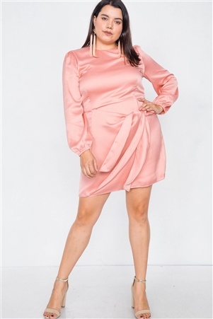 Plus Size Salmon Silk Mock Wrap Square Neck Mini Dress