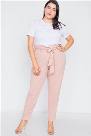 Plus Size Mauve Ruched High-Waist Chic Pleated Pants