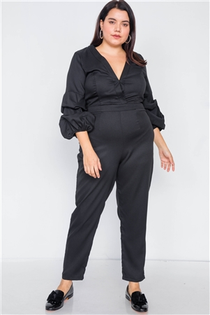 Plus Size Black V-Neck Puff Sleeve Straight Leg Jumpsuit