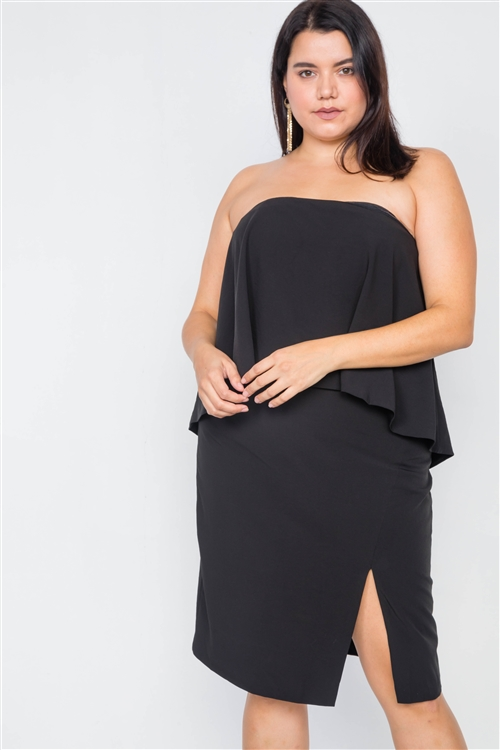 Plus Size Black Sleeveless Side Slit Mini Dress