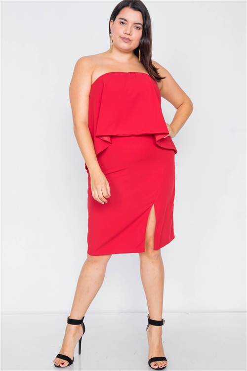 Plus Size Lipstick Red Sleeveless Side Slit Mini Dress