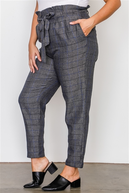 Plus Size Grey Plaid Print Frill Waist Belted Pant