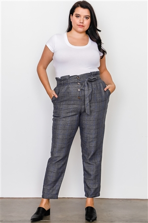 Plus Size Grey Plaid Print Frill Waist Belted Pants