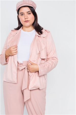 Plus Size Winter Blush Open Lapel Suede Raw Hem Pleated Sleeve Jacket