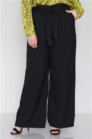 Plus Size Black Flounce Trim High-Waist Wide Leg Pant