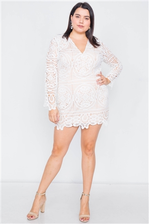 Plus Size Off-White Crochet Scallop Hem Mini Dress
