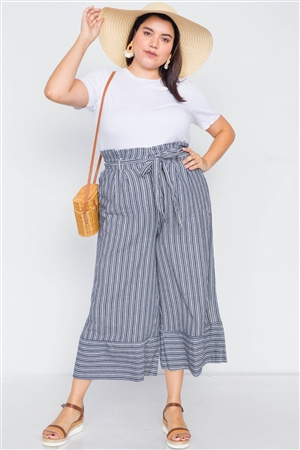 Plus Size Navy & White Stripes Gaucho Wide Leg Pants
