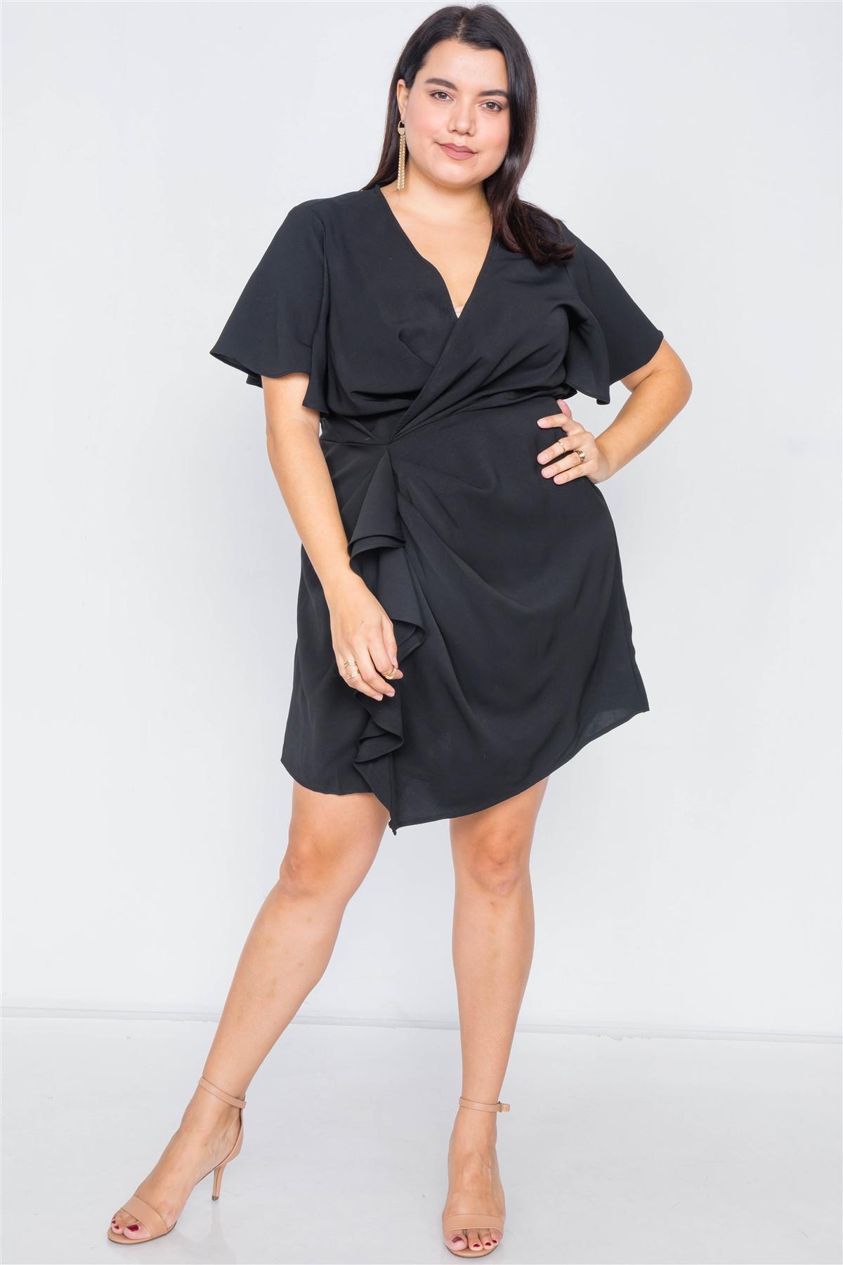 Plus Size Black Short Kimono Sleeve Satin V-Neck  Mini Dress