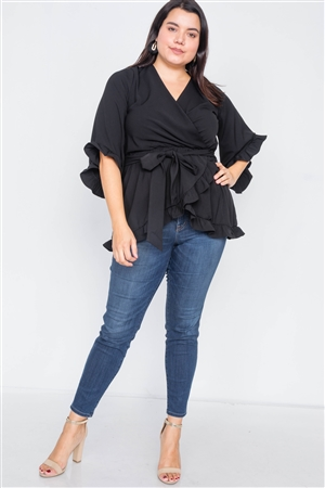 Plus Size Black Mock Wrap V-Neck Open Back Bell Sleeve Top