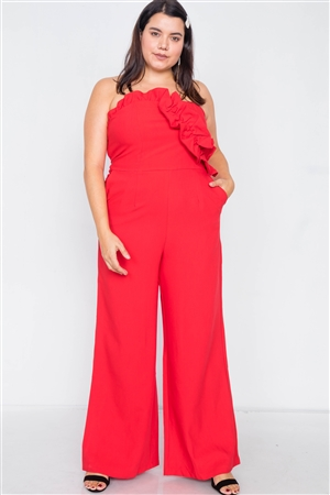 Plus Size Red Sleeveless Flounce Trim Maxi Wide Led Jumpsuit