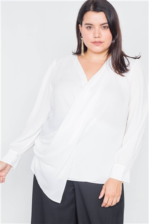 Plus Size White Sheer Asymmetrical Lapel Long Sleeve Blouse