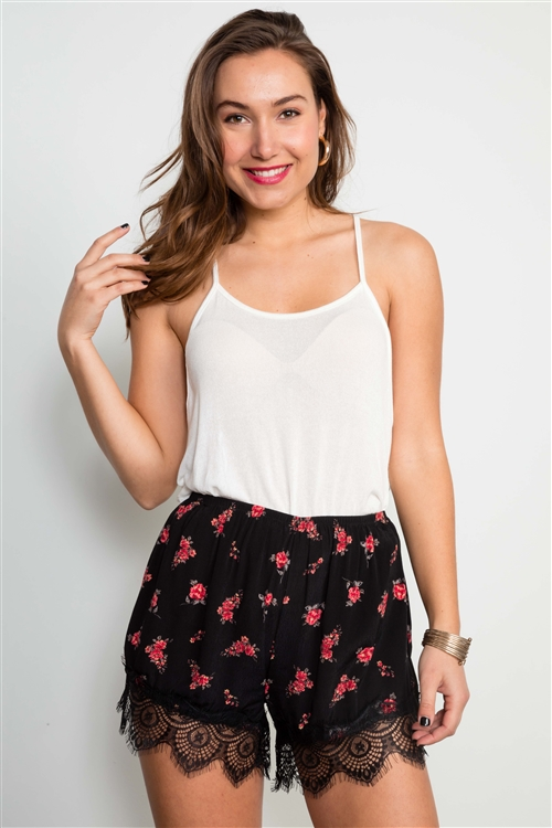 Black Floral Print With Lace Trim Hem Shorts