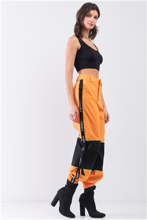 Bright Orange High Waist Print Side Trim Utility Buckle Detail Parachute Racetrack Cargo Pants /2-2-2