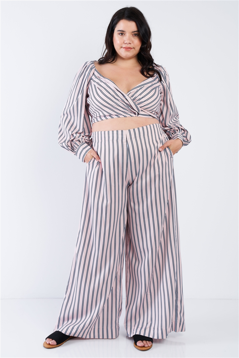 Junior Plus Size Blush Stripe Crop Top & Wide Leg Pants Set