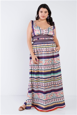 Plus Size Boho Stripe Crop Top & Maxi Skirt Set