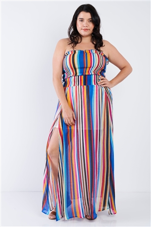 Plus Size Multi Stripe Bandeau & Maxi Skirt Set