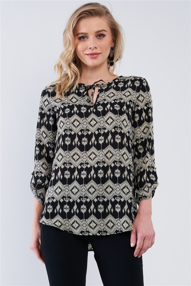 Black Multi Color Kaleidoscope Print Loose Fit String Tie Crew Neck Long Strapped Sleeve Top /2-2-2