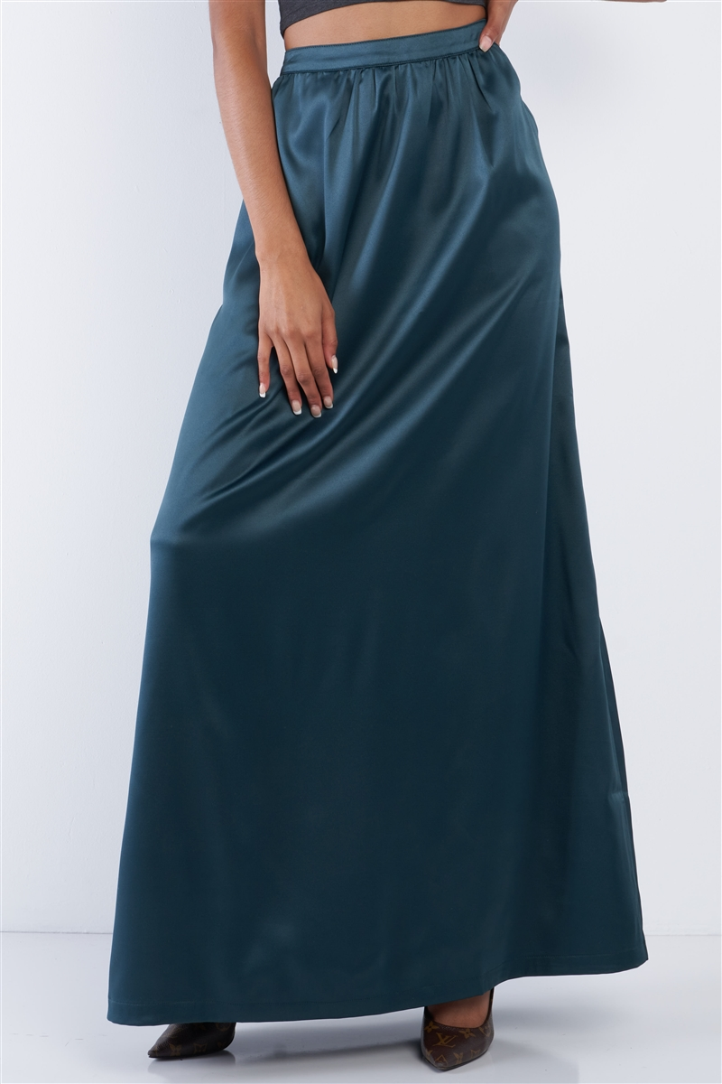 Emerald Green Satin High Waist Flowing Maxi Skirt /1-2-3