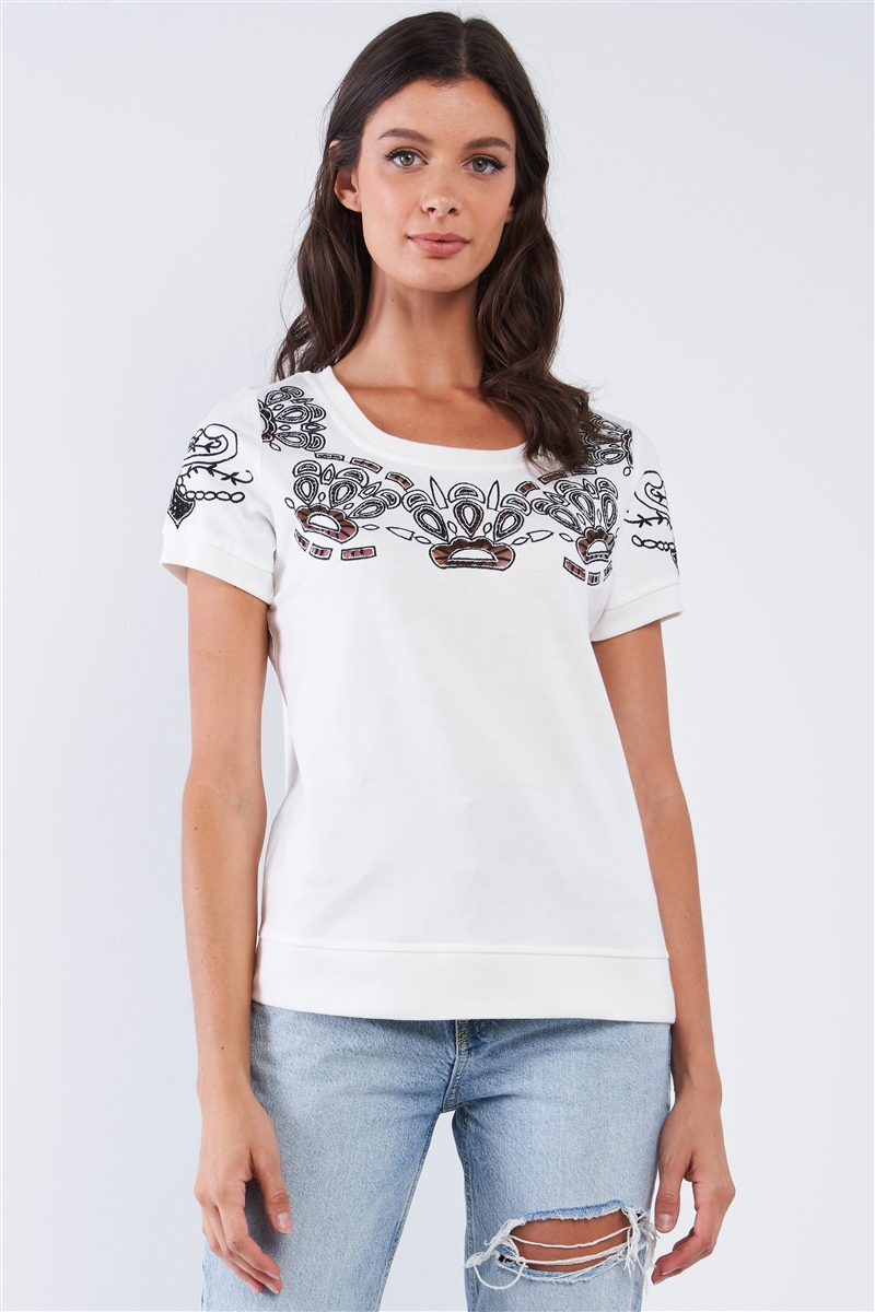 Cream Short Sleeve Black Embroidered Ribbed Hem Crew Neck Top