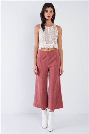 Dusty Rose Pink Cotton Pinstripe Gaucho Pants