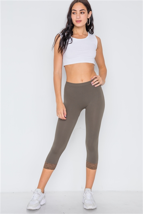 Olive Sports Yoga Stretchy Leggings with Lace Detail