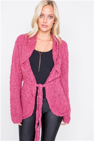 Dark Mauve Brushed Knit Cotton Cardigan