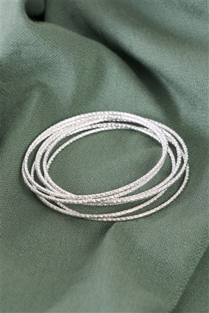 Silver Ribbed 7 Ring Bracelet /6 Pieces