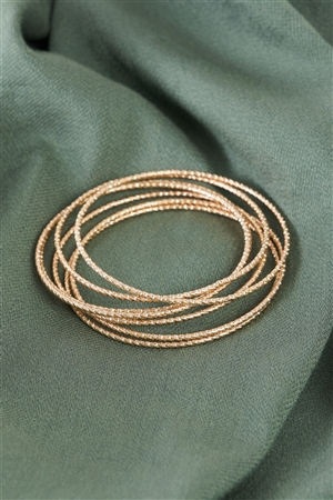 Gold Ribbed 7 Ring Bracelet /6 Pieces