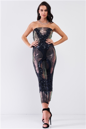 Party In Eden Navy & Pink Chameleon Sequin Palm Leave Pattern Sleeveless Tube Jumpsuit /2-1-1
