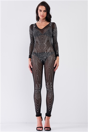 Black Rhinestone Embroidery V-Neck Sheer Mesh Long Sleeve Bodycon Jumpsuit /1-1-1-1