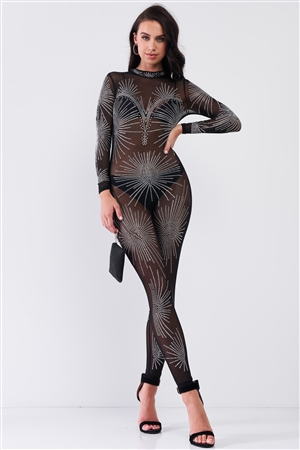 Black Rhinestone Mock Neck Embroidery Sheer Mesh Long Sleeve Bodycon Jumpsuit /1-1-1-1